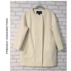 French Connection Cream Wool Blend Coat Size Large